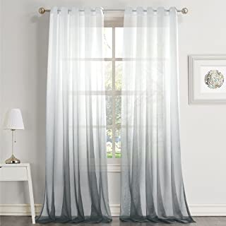 Dreaming Casa Gradient Ombre Sheer Curtains Draperies Window Treatment Voile for Living Room Kid's Room 84 Inches Long Grommet Top (42