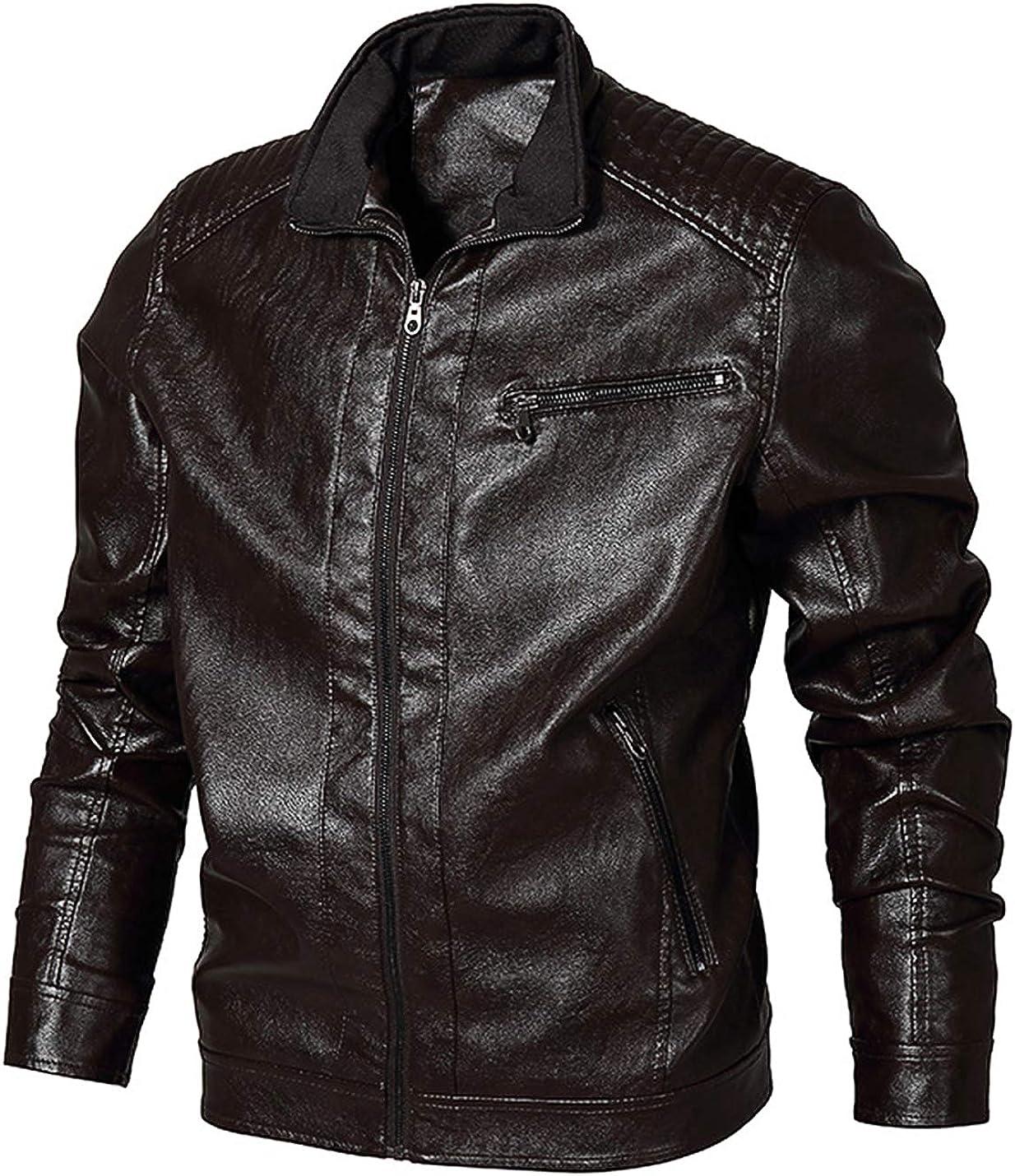 Men's Vintage Zip Up PU Leather Moto Jacket