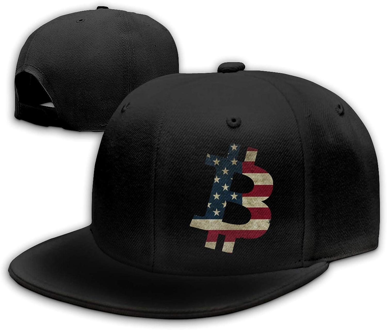 ZYLdiy Hip-Hop Flat Bill Caps Bitcoin USA Flag Baseball Hat Adjustable Snapback Hats Caps for Men Women