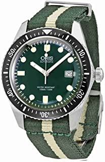 Oris Divers Sixty-Five Stainless Steel Mens Watch w/ Green & White NATO Textile Strap