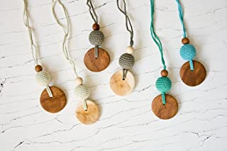 FrejaToys Silk & Wood Teething Necklaces,Teething Jewelry for Mom, Breastfeeding Necklace, Gift for New Moms and Babyshower