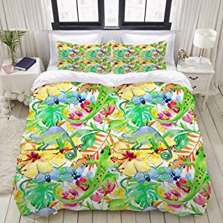 "Mokale Bedding Duvet Cover 3 Piece Set - Tropical Flowers and Lizard - Decorative Hotel Dorm Comforter Cover with 2 Pollow Shams - Twin 68""X86"""