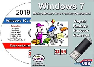 9th & Vine USB Compatible With Windows 7 32-64 bit All Versions Professional, Home Premium, Ultimate, Basic & 2019 Drivers. Install To Factory Fresh, Recover, Repair and Restore Boot Disc. Fix PC