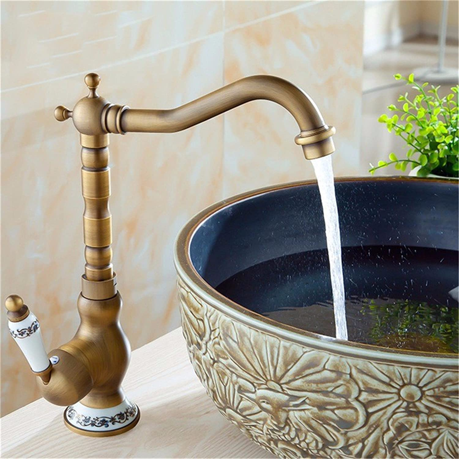 Bijjaladeva Antique Bathroom Sink Vessel Faucet Basin Mixer Tap Antique wash basin mixer full copper pots on the bluee-tiled hot and cold faucet basin sink to turn the water tap