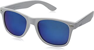 zeroUV - White Square Sunglasses for Men with Colored Reflective Mirror Lens (White/Blue)