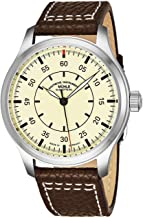 Muhle Glashutte Terrasport I Beobachter Mens Automatic Pilot Watch - Cream Face with Luminous Hands and Sapphire Crystal - Brown Leather Band Precision Watch Made in Germany M1-37-37/4 LB
