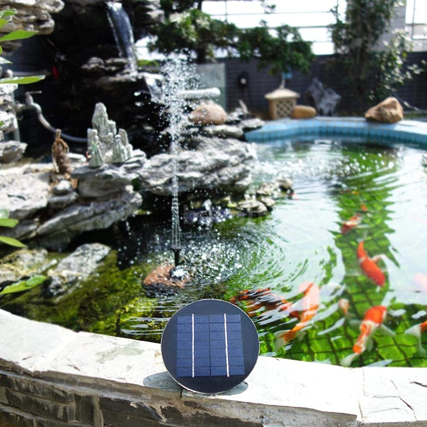 Studyset Solar Fountain 9V 3W Round Shape Water Pump Solar Birdbath Fountain Pump, Solar Outdoor Water Fountain Panel Kit for Bird Bath,Small Pond,Garden and Lawn