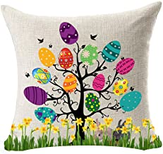 Best Gift For Spring Season's Greetings Happy Easter Beautiful Large Big Color Eggs Tree Bunny Rabbit Flowers Cotton Linen...