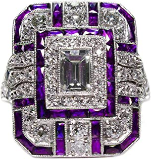 Goldenchen Fashion Jewelry Amethyst Silver Wedding Engagement Ring Art Deco Women Jewelry Gift Size 6-10 (10)