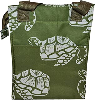Insulated Reusable Zippered Lunch Bag with Aluminum Foil Insulated Zip Cooler and Secure Carrying Straps (Turtle)