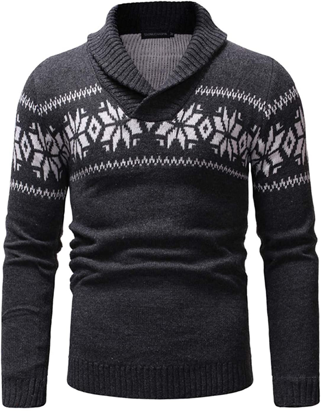 Soluo Mens Knitted Sweaters Shawl Collar Slim Fit Pullover Long Sleeve Outwear Fall Winter Casual Knit Sweater (Dark Gray,XX-Large)