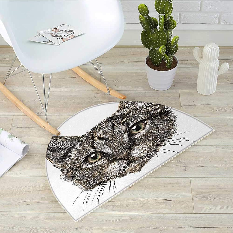 Animal Semicircle Doormat Cute Little Chubby Cat Head Looking Innocently with Long Whiskers Sketchy Like Artwork Halfmoon doormats H 39.3  xD 59  Grey