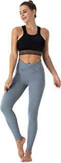 Beauty_yoyo Women's Sport Yoga Leggings Cross Waist Band Gym Pants Tummy Control Outfits Workout Fitness Non See-Through Wear