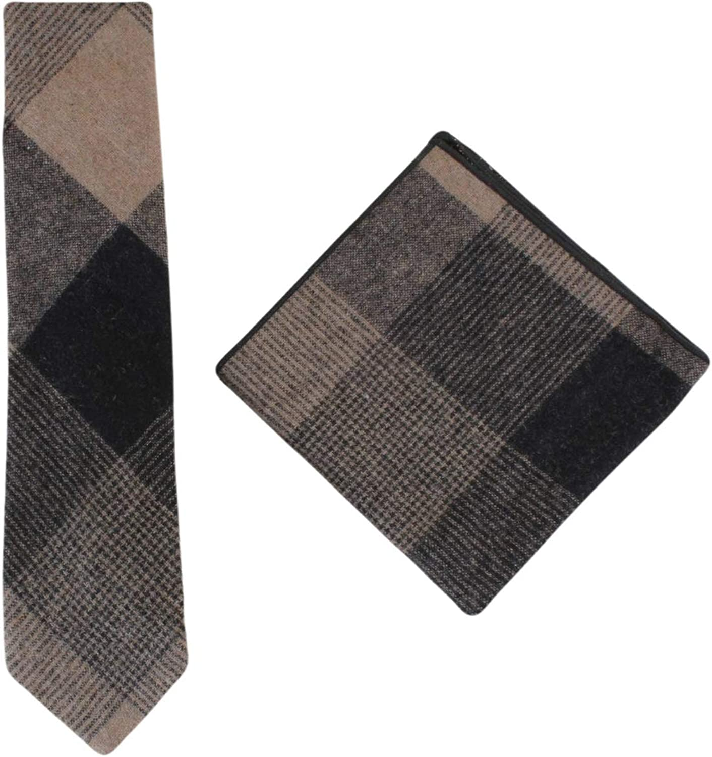 Knightsbridge Neckwear Mens Large Check Tie and Pocket Square Set - Beige Brown
