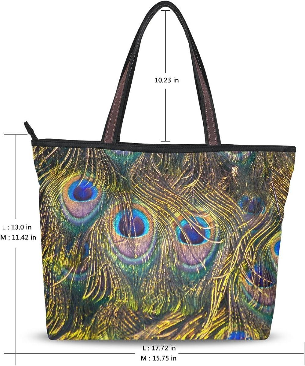 JSTEL Women Large Tote Top Handle Shoulder Bags Peacock Feather Patern Ladies Handbag L