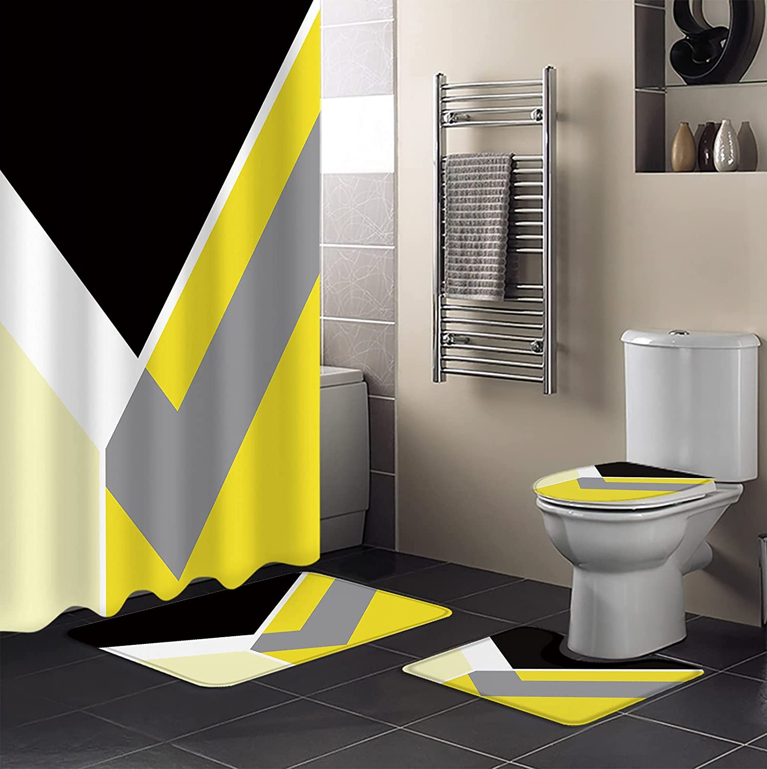 4 Piece Shower Curtain Sets Abstract Black Gradient Fresh Special price for a limited Nashville-Davidson Mall time Yellow