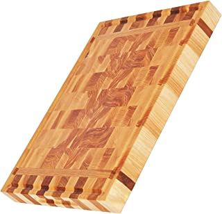 End Grain Wood Cutting Board for Kitchen 16x12 inch - Extra Large Thick Premium Butcher Block - Juice Groove Hand Grips Reversible Solid Sturdy Chopping Board
