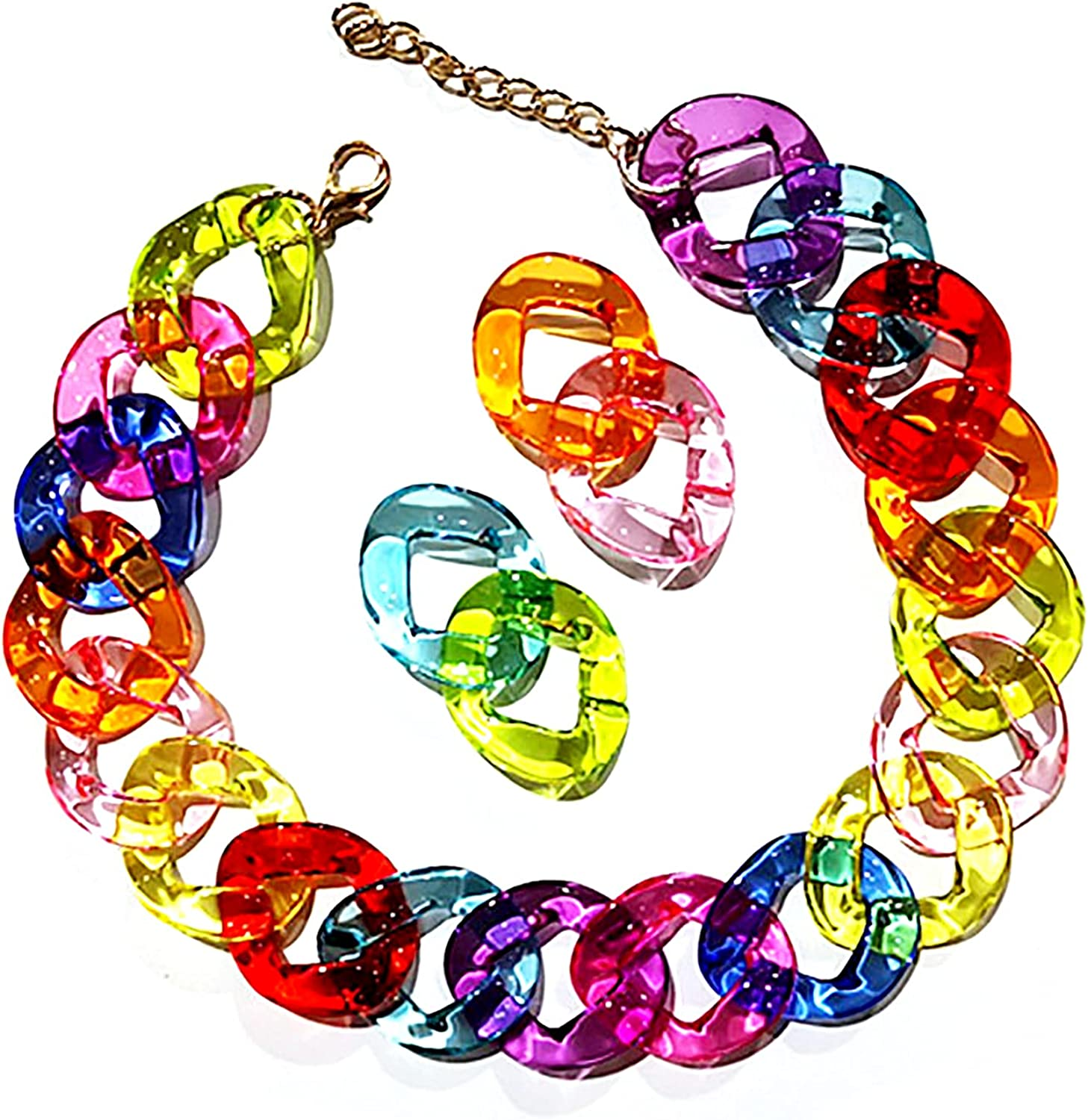 Pingyongchang Colorful Transparant Acrylic Paperclip Chain Choker Bracelet Earring Jewelry Set Rainbow Colors Resin Link Drop Earrings Chains Bracelets Necklaces Punk Jewellry for Women Girls