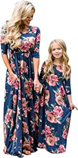 Family Matching Flower Print Long Sleeve Maxi Dress Mommy Me O-Neck High Waist Spring Fall Dress with Pockets