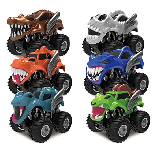 JOYIN 6 Pack Monster Friction Powered Truck Vehicles Big Tire Wheel Car Playset