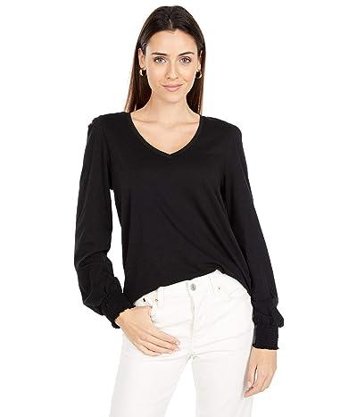 Lilla P Flame Modal Long Sleeve V-Neck Tee (Black) Women