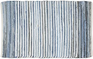 DII Contemporary Reversible Indoor Area Rag Rug, Machine Washable, Handmade from Recycled Fabrics, Unique For Bedroom, Living Room, Kitchen, Nursery and more, 4 x 6' - Denim (Color may vary)