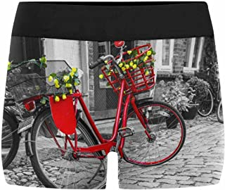 INTERESTPRINT Men's Boxer Briefs Retro Vintage Red Bicycle