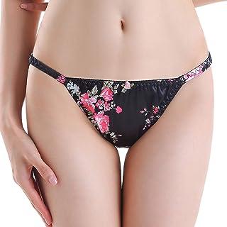 Satini Women's Floral Satin Tanga Bikini Lingerie Panties Knickers