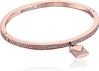 "Michael Kors ""Fashion Logo Love Rose Gold-Tone Hinged Padlock Charm Bracelet"