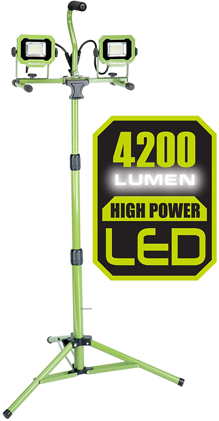 PowerSmith PWL2042TS 4,200 Lumen Dual Head LED Work Light with Adjustable Metal Telescoping Tripod and 9ft Power Cord, Green