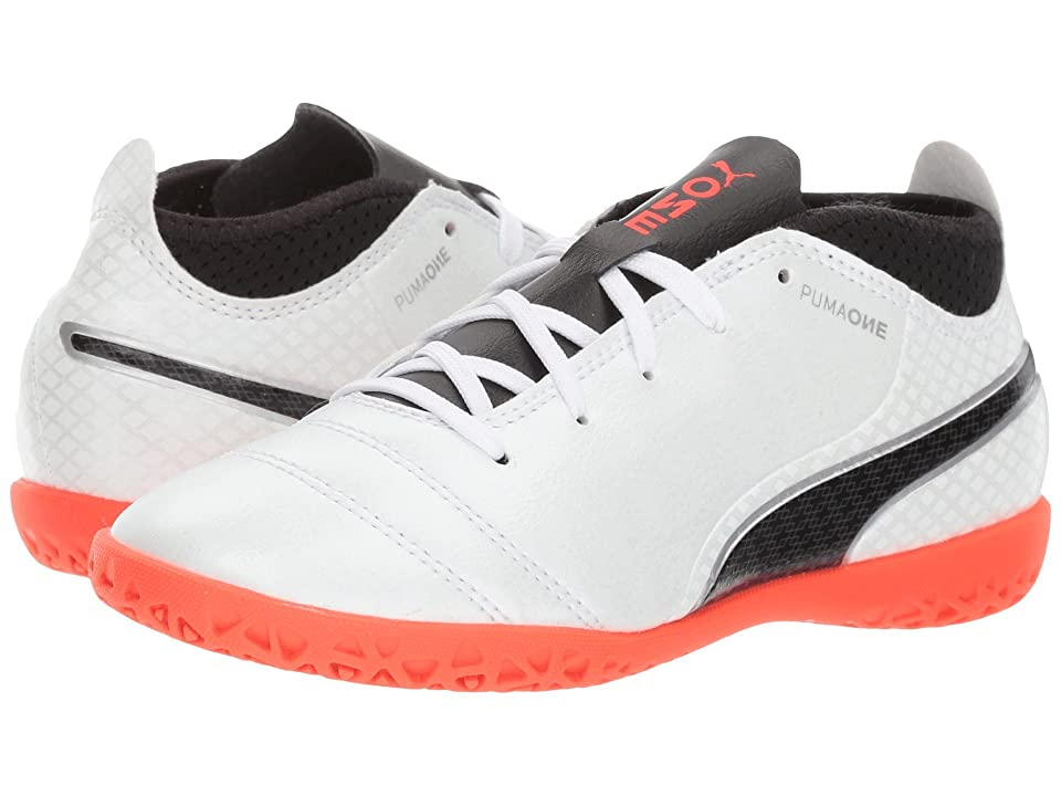 Puma Kids ONE 17.4 IT (Little Kid/Big Kid) (Puma White/Puma Black/Fiery Coral) Kids Shoes