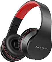 AILIHEN A80 Bluetooth Wireless Headphones Over Ear with Mic Hi-Fi Stereo Wired Foldable V5.0 Headsets, Soft Earpads, Support with TF Card/MP3 Mode, 25H Playtime for Travel TV PC Cellphone (Grey Red)