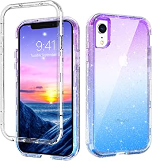 iPhone XR Case GUAGUA Gradient Colorful Clear Glitter Bling Hybrid 3 in 1 Hard Plastic Soft TPU Bumper Cover Shockproof Protective Phone Cases for iPhone XR 6.1-inch 2018 Transparent Purple Blue