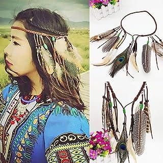 comprar comparacion Simsly - Diadema de plumas de pavo real, tocado indio, estilo boho, vintage, hippie, accesorio moderno para el pelo, ajust...