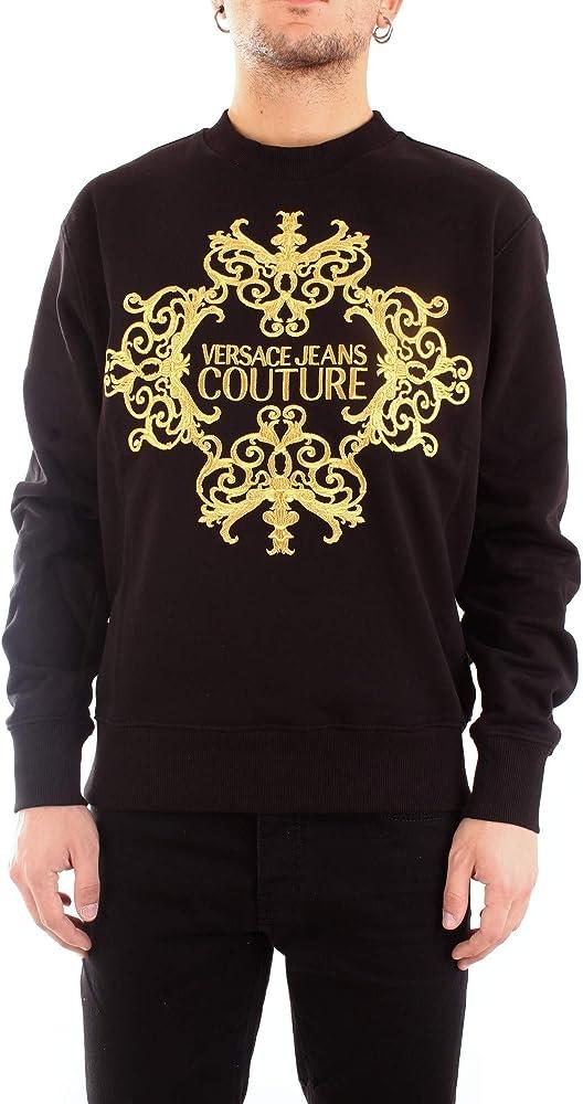 Versace jeans couture, felpa girocollo per uomo, in cotone e decorata dalla stampa logo versace,taglia l B7GZA71213988