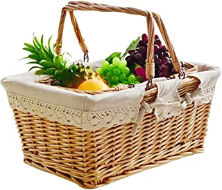 Yesland Wicker Picnic Basket with Liner and Handle, 15.5 × 12 × 6.5 Inches Willow Country Picnic Basket/Easter Basket for ...
