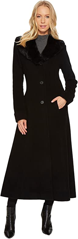 LAUREN Ralph Lauren Faux Fur Shawl Collar Fit & Flare Maxi