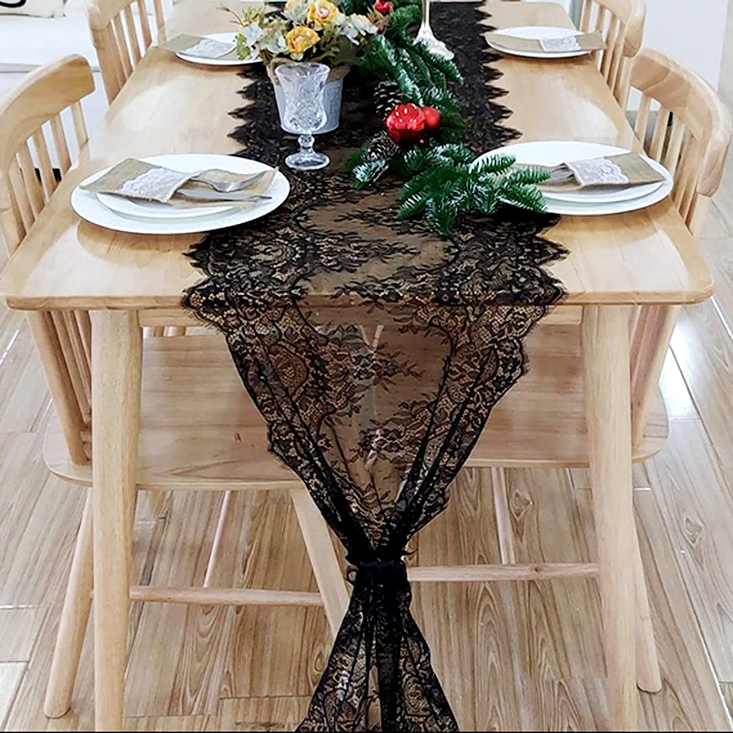 ARKSU All stores are sold 10 Packs Black Fixed price for sale Lace Table Runner Em Inch Chair 18x120 Sash