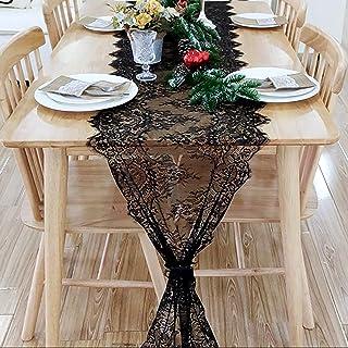 میز دوشی توری مشکی ARKSU 18x120 اینچ برای عروسی / شکرگذاری / کودکانه روستایی
