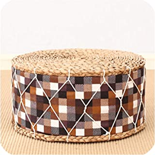 Straw Round Floor Cushions Japanese Futon Meditation Cushion Thickening Circle Seat Stool,color8,Dia.30cm(for Child)