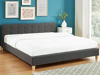 HOMIFAB Lit Adulte avec tête de lit capitonnée en Tissu Gris foncé - sommier à Lattes 180x200cm - Collection Milo