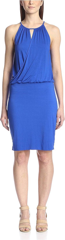 Three Dots Women's Cutout Wrap-Top Dress, Surf Blue, XS