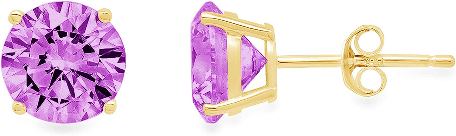 0.20 ct Brilliant Round Cut Solitaire Flawless Genuine Simulated CZ Purple Alexandrite Gemstone Pair of Designer Stud Earrings Solid 14k Yellow Gold Butterfly Push Back
