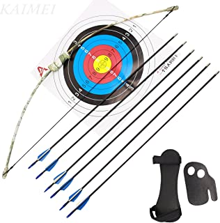 kaimei 37Inch Archery Bow and Arrow Set Recurve Bow camouflage Outdoor Sports Game Hunting Training Toy Gift Bow Kit Set with 6 Arrows 2 target paper to Kids Youth
