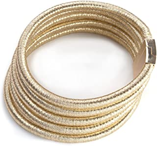 Fancy Love New Punk Wide Stretch Rope Gold Maxi Colar Chocker Necklace