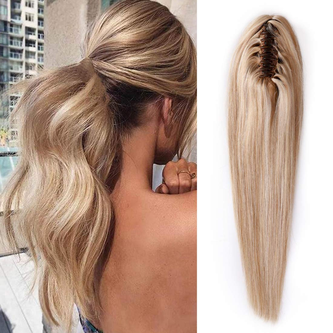 S-noilite Claw Clip Ponytail Extension Rapid rise C Human Hair Balayage Jaw Oakland Mall
