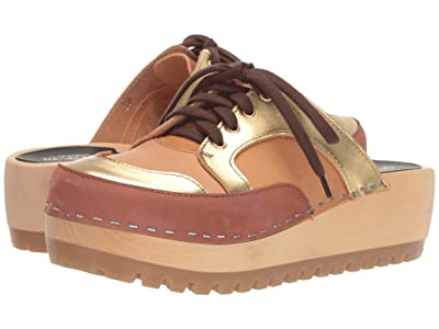 Swedish Hasbeens Sneakers Clog (Cognac Nubuck/Gold Combo) Women