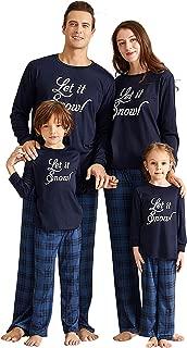 Matching Family Pajamas Sets Christmas PJ's Bear Santa Printed Sleepwear with Red Plaid Pants for Kids & Adult