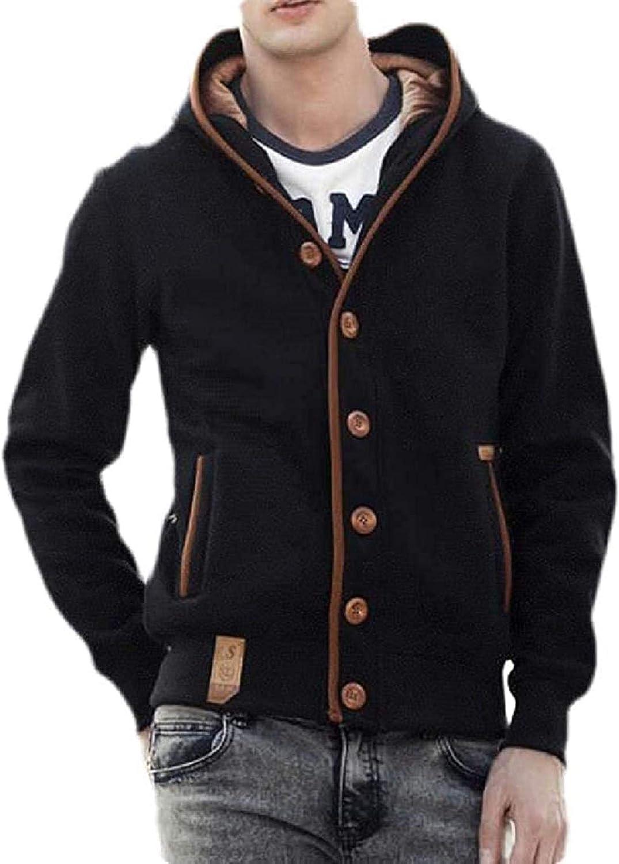Men's Fleece Lined Hooded Outwear Button Down Warm Sweatshirt Jacket