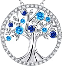 Birthday Jewelry for Mom Wife Family Blue Sapphire Necklace Tree of Life Aquamarine Necklace Women Teen Girls Anniversary Gifts for Her Sterling Silver Jewelry